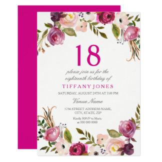Tarjeta El décimo octavo cumpleaños floral botánico rosado
