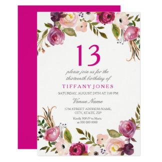 Tarjeta El décimotercero cumpleaños floral botánico rosado