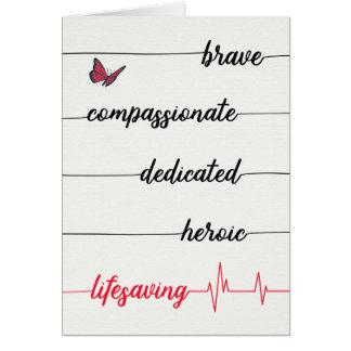 Tarjeta El día de la enfermera - valiente, compasivo,