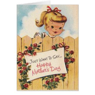 Tarjeta El día de madre del vintage - florezca y crezca,