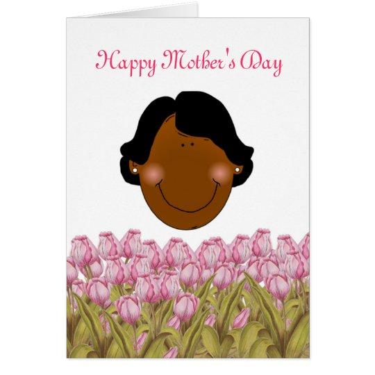 Tarjeta El día de madre feliz con la mamá afroamericana