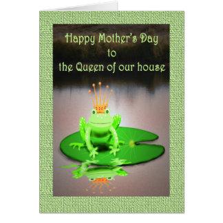Tarjeta El día de madre feliz, reina de nuestra casa, rana