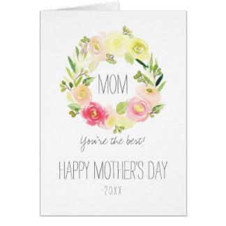 Tarjeta El día de madre floral de la acuarela rosada y