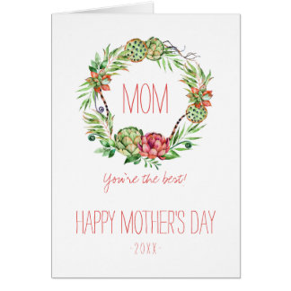 Tarjeta El día de madre floral de Succlent el   del