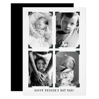 Tarjeta El día de padre blanco y negro de la foto del