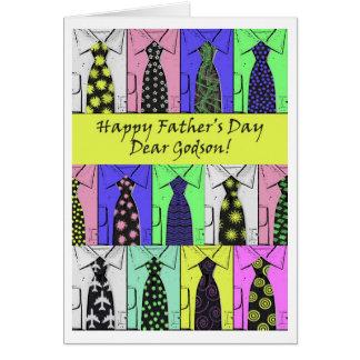 Tarjeta El día de padre para el ahijado, el camisetas y