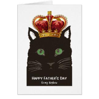 Tarjeta El día de padre para el gato negro del sobrino con