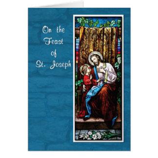 Tarjeta El día de San José con Jesús, en azul