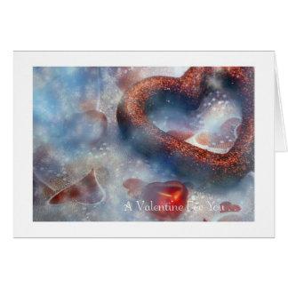 Tarjeta El día de San Valentín: 2 corazones rojos