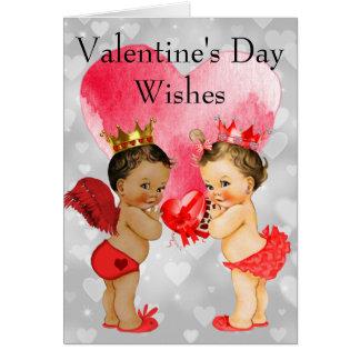 Tarjeta El día de San Valentín afroamericano del bebé del