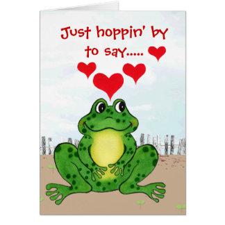 Tarjeta El día de San Valentín de lúpulo de la rana -