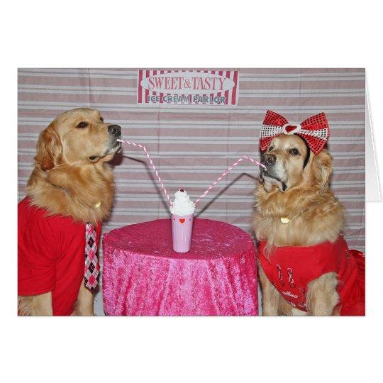 Tarjeta El día de San Valentín de oro del Milkshake