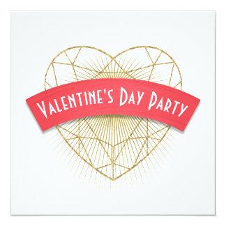Tarjeta El día de San Valentín del corazón de Deco del oro
