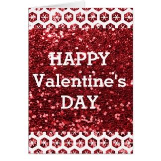 Tarjeta El día de San Valentín feliz del brillo rojo