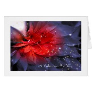 Tarjeta El día de San Valentín: Pluma púrpura con rojo