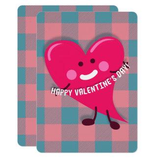 Tarjeta El día de San Valentín rosado lindo del carácter