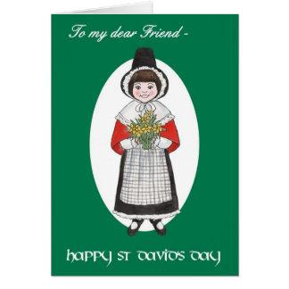 Tarjeta El día de St David, traje Galés, para el amigo