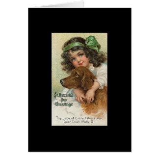 Tarjeta El día de St Patrick del chica y del perro del