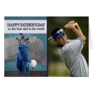 Tarjeta El día del papá el   del golfista de padre feliz