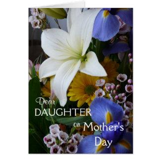 Tarjeta El Día-Hija-Bonito de la madre feliz floral