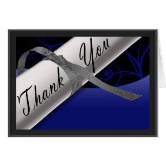 Tarjeta El diploma azul y de plata le agradece