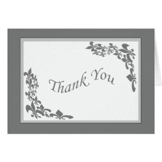 Tarjeta El diseño de la flor de lis le agradece (el gris)