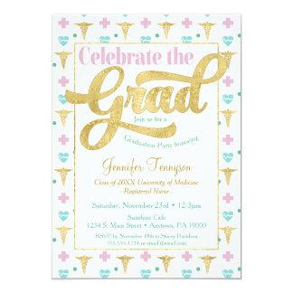 Tarjeta El doctor Graduation Invitation Pink LPN RN de la