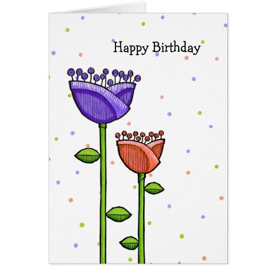 Tarjeta El Doodle de la diversión florece cumpleaños