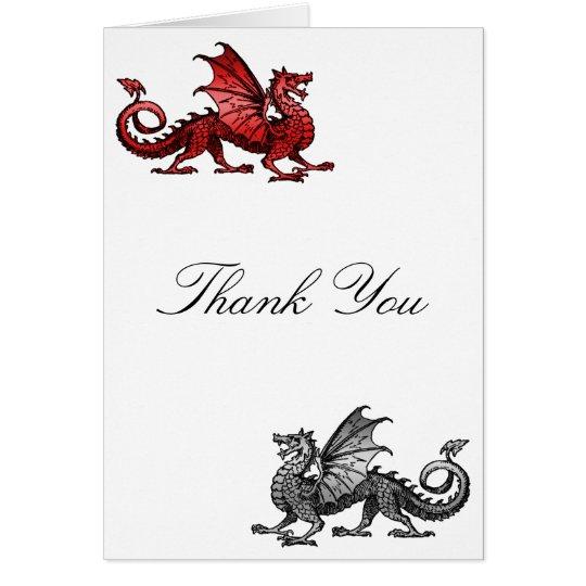 Tarjeta El dragón de plata rojo le agradece cardar