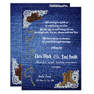 Tarjeta El dril de algodón, las botas y el boda