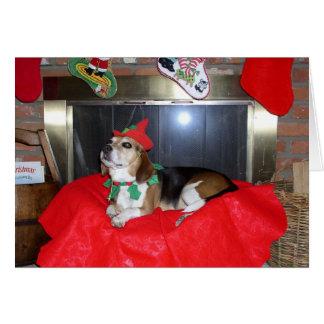 Tarjeta El duende del navidad del beagle