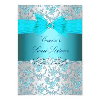 Tarjeta El dulce color de rosa y del arco azul dieciséis