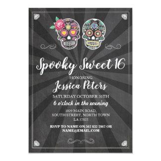 Tarjeta El dulce cráneo Halloween del azúcar de 16