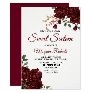 Tarjeta El dulce floral romántico 16 del rosa rojo de