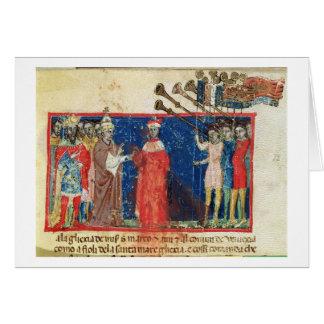 Tarjeta El dux 383 Sebastiani de Correr I del códice Ziani