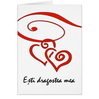 Tarjeta El el día de San Valentín en rumano, corazones