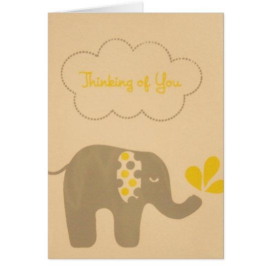 Tarjeta El elefante que piensa en usted carda