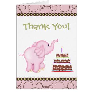 Tarjeta El elefante rosado le agradece cardar