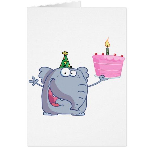 Tarjeta El elefante sostiene la torta de cumpleaños