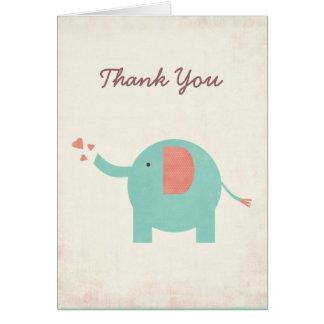 Tarjeta El elefante unisex retro dulce le agradece cardar