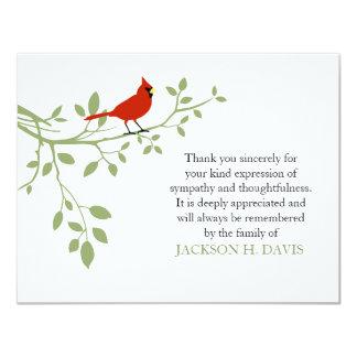 Tarjeta El entierro cardinal le agradece pájaro del rojo