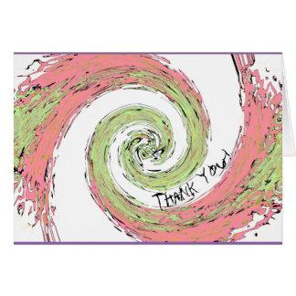 Tarjeta El espiral abstracto del rosa y del verde le