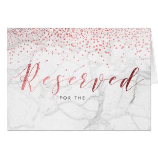 Tarjeta El falso confeti color de rosa del oro de