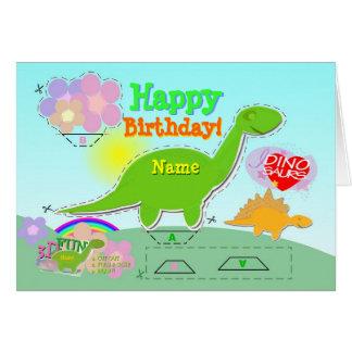 Tarjeta El feliz cumpleaños Dino 3D conocido cortó y dobla