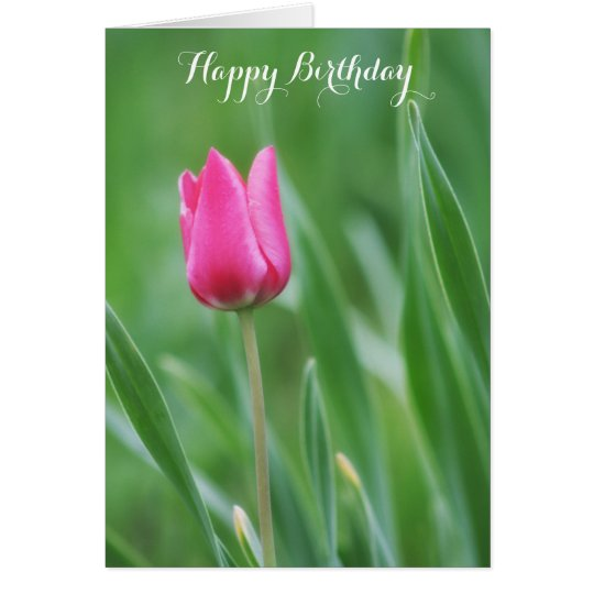 Tarjeta El feliz cumpleaños, salta flor rosada del tulipán