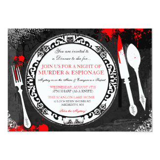 Tarjeta El fiesta de cena del misterioso asesinato invita
