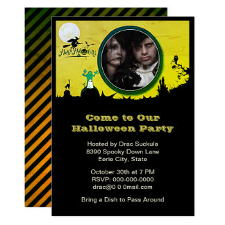 Tarjeta El fiesta de Halloween, bruja, fantasma, gato,