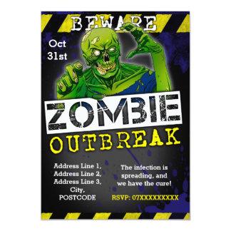 Tarjeta El fiesta de Halloween del brote del zombi invita