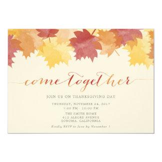 Tarjeta El fiesta de la acción de gracias de las hojas de