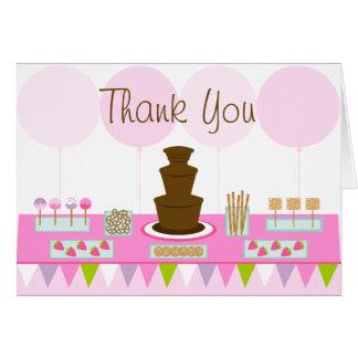 Tarjeta El fiesta de la fuente del chocolate le agradece